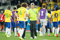 David Luiz of Brazil is consoled by Thiago Silva
