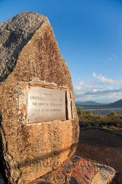 Memorial to Lieutenant James Cook and crew of Endeavour at Grassy Hill Lookout.  Cooktown, Queensland, Australia