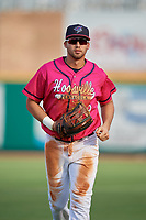 Pensacola Blue Wahoos right fielder Alex Kirilloff (19) jogs to the dugout during a Southern League game against the Mobile BayBears on July 25, 2019 at Hank Aaron Stadium in Pensacola, Florida.  Pensacola defeated Mobile 2-1 in the first game of a doubleheader.  (Mike Janes/Four Seam Images)