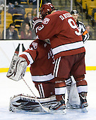 Steve Michalek (Harvard - 34), Danny Biega (Harvard - 9) - The Harvard University Crimson defeated the Northeastern University Huskies 3-2 in the 2012 Beanpot consolation game on Monday, February 13, 2012, at TD Garden in Boston, Massachusetts.