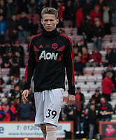Manchester United's Scott McTominay during pre-match warm up<br /> <br /> <br /> Photographer David Horton/CameraSport<br /> <br /> The Premier League - Bournemouth v Manchester United - Saturday 3rd November 2018 - Vitality Stadium - Bournemouth<br /> <br /> World Copyright &copy; 2018 CameraSport. All rights reserved. 43 Linden Ave. Countesthorpe. Leicester. England. LE8 5PG - Tel: +44 (0) 116 277 4147 - admin@camerasport.com - www.camerasport.com