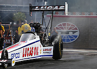 Apr 10, 2015; Las Vegas, NV, USA; NHRA top fuel driver Richie Crampton during qualifying for the Summitracing.com Nationals at The Strip at Las Vegas Motor Speedway. Mandatory Credit: Mark J. Rebilas-