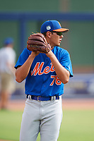 GCL Mets pitcher Noah Nunez (78) warms up in the outfield before the first game of a doubleheader against the GCL Nationals on July 22, 2017 at The Ballpark of the Palm Beaches in Palm Beach, Florida.  GCL Mets defeated the GCL Nationals 1-0 in a seven inning game that originally started on July 17th.  (Mike Janes/Four Seam Images)