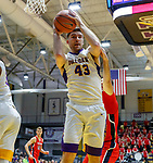 Stony Brook defeats UAlbany  69-60 in the America East Conference tournament quaterfinals at the  SEFCU Arena, Mar. 3, 2018. Greg Stire (#43).