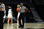 WINSTON-SALEM, NC - DECEMBER 31: Referee Eric Brewton. The Wake Forest University Demon Deacons hosted the Notre Dame University Fighting Irish on December 31, 2017 at Lawrence Joel Veterans Memorial Coliseum in Winston-Salem, NC in a Division I women's college basketball game. Notre Dame won the game 96-73.