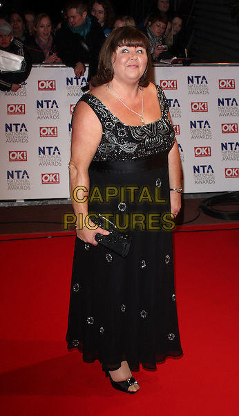 CHERYL FERGISON.The 15th National Television Awards held at the O2 Arena, London, England. .January 20th, 2010 .NTA NTAs full length black dress sleeveless beaded maxi open toe shoes clutch bag .CAP/ROS.©Steve Ross/Capital Pictures.