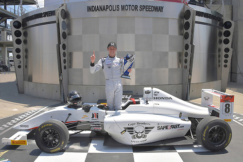 2017 F4 US Championship<br /> Rounds 4-5-6<br /> Indianapolis Motor Speedway, Speedway, IN, USA<br /> Sunday 11 June 2017<br /> #8 Kyle Kirkwood wins race #2 posed in traditonal Indy 500 podium<br /> World Copyright: Dan R. Boyd<br /> LAT Images