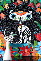 *SPECIAL EDITION* Gato de los Muertos by Cean Irminger, using various shades of jewel glass.