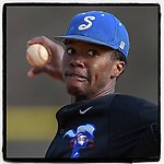 Pitcher Jordan Jackson (32) of the Spartanburg Methodist College Pioneers delivers a pitch during Game 2 of a junior college season-opening doubleheader against the Patrick Henry Patriots on February 3, 2018, at Mooneyham Field in Spartanburg, South Carolina. (Tom Priddy/Four Seam Images)