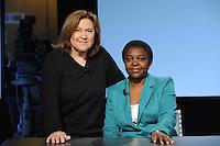 Lucia Annunziata e Cecil Kyenge Ministro dell'integrazione .05/05/2013 Roma il ministro ospite della trasmissione 8 e mezzo .Foto Gb Insidefoto