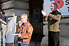 Demonstration against Coalition cuts to disabled people's services and income. Speeches at demonstration with sign language interpreter for deaf people.