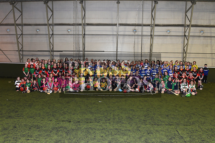 children who took part in the Camogie tournament at Drogheda Leisure Centre. Photo:Colin Bell/pressphotos.ie