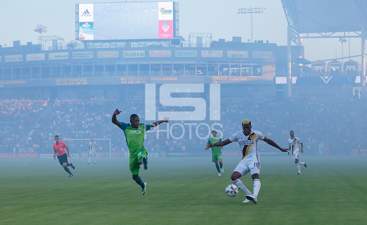 Carson, CA - Saturday July 29, 2017: Gyasi Zardes during a Major League Soccer (MLS) game between the Los Angeles Galaxy and the Seattle Sounders FC at StubHub Center.
