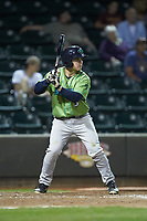 Dillon Persinger (9) of the Lynchburg Hillcats at bat against the Winston-Salem Dash at BB&T Ballpark on May 1, 2018 in Winston-Salem, North Carolina. The Dash defeated the Hillcats 9-0. (Brian Westerholt/Four Seam Images)
