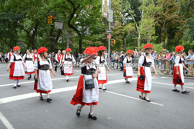 Marchers attend the Steuben Day Parade on Fifth Avenue on September 21, 2013 in New York City.