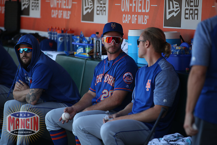 SAN FRANCISCO, CA - JULY 20:  Pete Alonso #20 of the New York Mets sits in the dugout after hitting a home run against the San Francisco Giants during the game at Oracle Park on Saturday, July 20, 2019 in San Francisco, California. (Photo by Brad Mangin)