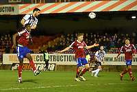 Pat Hoban of Grimsby Town heads for goal during the Vanarama National League match between Aldershot Town and Grimsby Town at the EBB Stadium, Aldershot, England on 5 April 2016. Photo by Paul Paxford / PRiME Media Images.