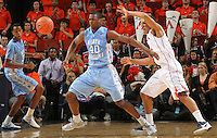 North Carolina Tar Heels forward Harrison Barnes (40) looks for the loose ball during the game against Virginia in Charlottesville, Va. North Carolina defeated Virginia 54-51.