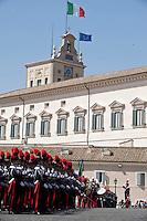La banda dei Carabinieri schierata nel piazzale del Quirinale.<br /> The fanfare of carabinieri in front of the Quirinal Palace in Rome.