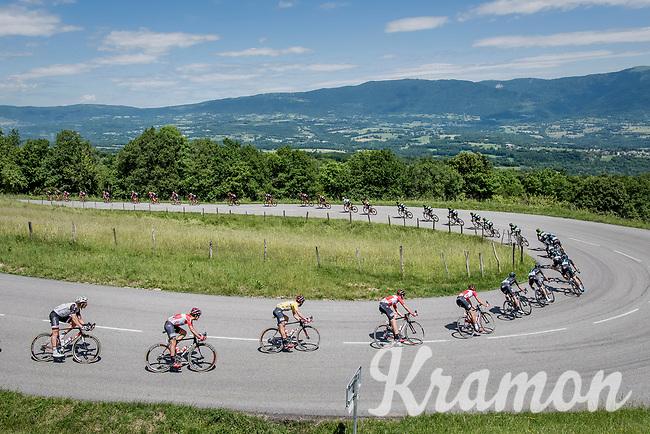 U-turning peloton with yellow jersey / GC leader lining up<br /> <br /> Stage 6: Le parc des oiseaux/Villars-Les-Dombes &rsaquo; La Motte-Servolex (147km)<br /> 69th Crit&eacute;rium du Dauphin&eacute; 2017