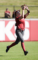 NWA Democrat-Gazette/CHARLIE KAIJO An Arkansas Razorbacks outfielder catches the ball during a softball match, Sunday, October 28, 2018 at Bogle Park, University of Arkansas in Fayetteville.<br />