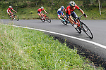 Vincenzo Nibali (ITA) Bahrain-Merida leads Thibaut Pinot (FRA) Groupama-FDJ on a descent during Stage 20 of the La Vuelta 2018, running 97.3km from Andorra Escaldes-Engordany to Coll de la Gallina, Spain. 15th September 2018.                   <br /> Picture: Unipublic/Photogomezsport | Cyclefile<br /> <br /> <br /> All photos usage must carry mandatory copyright credit (© Cyclefile | Unipublic/Photogomezsport)