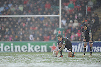 Toby Flood of Leicester Tigers takes a penalty kick during the Heineken Cup 6th round match between Leicester Tigers and Stade Toulousain at Welford Road on Sunday 20th January 2013 (Photo by Rob Munro).