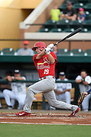 Palm Beach Cardinals catcher Carson Kelly (19) at bat during a game against the Lakeland Flying Tigers on April 13, 2015 at Joker Marchant Stadium in Lakeland, Florida.  Palm Beach defeated Lakeland 4-0.  (Mike Janes/Four Seam Images)