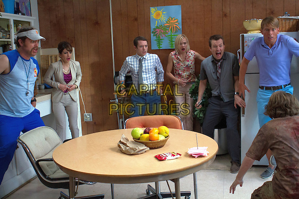 COOTIES (2014)<br /> Wade (Rainn Wilson, left), Rebekkah (Nasim Pedrad, left center), Clint (Elijah Wood, center), Lucy (Alison Pill, right center), Doug (Leigh Whannell, right) and Tracy (Jack McBrayer, far right) <br /> *Filmstill - Editorial Use Only*<br /> CAP/FB<br /> Image supplied by Capital Pictures