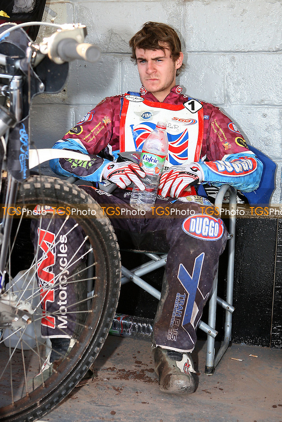 Richie Worrall (GB) in the pits - FIM Speedway World Under-21 Team Cup Semi Final at Arena Essex Raceway, Purfleet - 27/05/12 - MANDATORY CREDIT: Gavin Ellis/TGSPHOTO - Self billing applies where appropriate - 0845 094 6026 - contact@tgsphoto.co.uk - NO UNPAID USE.