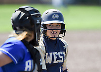 NWA Democrat-Gazette/CHARLIE KAIJO Bentonville West High School Hallie Wacaser (1) prepares to bat during a softball game, Friday, May 10, 2019 at Tiger Athletic Complex at Bentonville High School in Bentonville. Bentonville West High School defeated Bryant High School 5-3