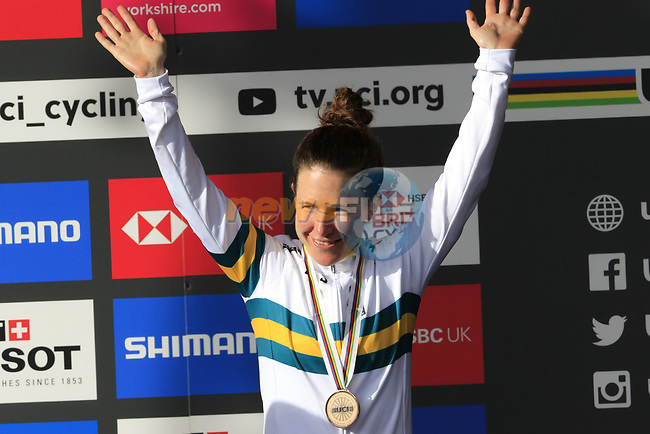 Bronze medal for Amanda Spratt (AUS) finishes 3rd place at the end of the Women Elite Road Race of the UCI World Championships 2019 running 149.4km from Bradford to Harrogate, England. 28th September 2019.<br /> Picture: Eoin Clarke   Cyclefile<br /> <br /> All photos usage must carry mandatory copyright credit (© Cyclefile   Eoin Clarke)
