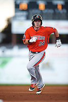 Aberdeen IronBirds center fielder Ryan McKenna (34) running the bases during a game against the Batavia Muckdogs on July 15, 2016 at Dwyer Stadium in Batavia, New York.  Aberdeen defeated Batavia 4-2.  (Mike Janes/Four Seam Images)