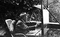 BNPS.co.uk (01202 558833)<br /> Pic: Pen&Sword/BNPS<br /> <br /> Churchill painting at Lake Como, September 1945.<br /> <br /> Previously unseen photos of Winston Churchill both in the theatre of war and at leisure afterwards have come to light in a new book.<br /> <br /> One snap shows him addressing troops of his 4th Hussars regiment in Cairo, while he is seen in another at the door of an aircraft with a trademark cigar in his mouth. <br /> <br /> There is also a candid image of the wartime leader painting at Lake Como in September 1945 where he convalesced after losing to Clement Attlee in the general election.<br /> <br /> The photos belonged to Lieutenant Colonel Anthony Barne, who was commanding officer of the 4th Hussars.<br /> <br /> The photos, and Lt Col Barne's war diaries, are published for the first time in a new book, Churchill's Colonel, which has been edited by his grandson Charles Barne.