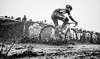 splashing Lars van der Haar (NED/Telenet-Fidea) <br /> <br /> elite men's race<br /> CX Superprestige Noordzeecross <br /> Middelkerke / Belgium 2017