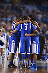 07 April 2014: University of Kentucky players huddle up before tip off against the University of Connecticut during the 2014 NCAA Men's DI Basketball Final Four Championship at AT&T Stadium in Arlington, TX. Connecticut defeated Kentucky 60-54 to win the national title. Peter Lockley/NCAA Photos