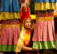 Buddhist monk in a Losar procession in Sikkim, India