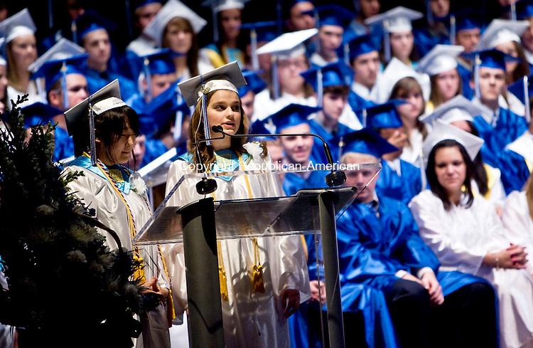 TORRINGTON, CT - 22 JUNE 2010 -062210JT11-<br /> Lewis Mills valedictorian Victoria Joh and salutatorian Jeanne Lowrey make their collaborative speech during commencement ceremonies at the Warner Theatre in Torrington on Tuesday.<br /> Josalee Thrift Republican-American
