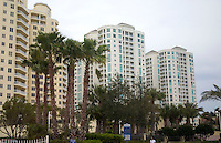 Imposing condominiums on the Gulf beach.  Clearwater Beach Tampa Bay Area Florida USA