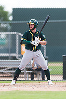 Oakland Athletics catcher Beau Taylor (22) at bat during a rehab start in an exhibition game against Team Italy at Lew Wolff Training Complex on October 3, 2018 in Mesa, Arizona. (Zachary Lucy/Four Seam Images)