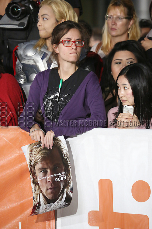 "Chris Hemsworth fans during the 2013 Tiff Film Festival Gala Red Carpet Premiere for ""Rush""  at the Roy Thomson Theatre  on September 8, 2013 in Toronto, Canada."
