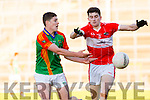 Marc Ó Conchuir Daingean Uí Chúis challenges Mike Breen Mid Kerry during the County Minor championship final in Fitzgerald Stadium on Sunday