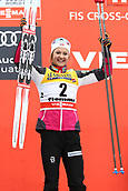 7th January 2018, Val di Fiemme, Fiemme Valley, Italy; FIS Cross Country World Cup, Tour de ski; Ladies 9km F Pursuit; Ingvild Flugstad Oestberg (NOR)on the podium