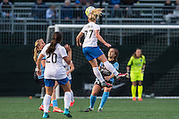 Allston, MA - Saturday, May 07, 2016: Chicago Red Stars midfielder Alyssa Mautz (4), Boston Breakers defender Mollie Pathman (20), midfielder McCall Zerboni (77), Chicago Red Stars midfielder Danielle Colaprico (24) and goalkeeper Alyssa Naeher (1) during a regular season National Women's Soccer League (NWSL) match at Jordan Field.