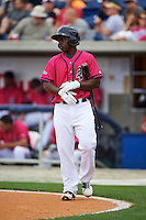 Pensacola Blue Wahoos first baseman Marquez Smith (21) walks to the plate during the first game of a double header against the Biloxi Shuckers on April 26, 2015 at Pensacola Bayfront Stadium in Pensacola, Florida.  Biloxi defeated Pensacola 2-1.  (Mike Janes/Four Seam Images)