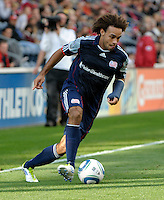 New England defender Kevin Alston (30) turns in toward the Chicago goal.  The Chicago Fire defeated the New England Revolution 3-2 at Toyota Park in Bridgeview, IL on Sept. 25, 2011.