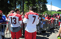 Jul 30, 2008; Flagstaff, AZ, USA; Arizona Cardinals quarterbacks Kurt Warner (13) and Matt Leinart (7) sign autographs during training camp on the campus of Northern Arizona University. Mandatory Credit: Mark J. Rebilas-