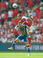 Rotherham Joe Mattock and Shrewsbury Shaun Whalley during the Sky Bet League 1 Play Off FINAL match between Rotherham United and Shrewsbury Town at Wembley, London, England on 27 May 2018. Photo by Andrew Aleksiejczuk / PRiME Media Images.