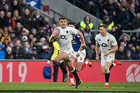 Twickenham, United Kingdom. 7th February, Henry SLADE running withe ball during, England vs France, 2019 Guinness Six Nations Rugby Match   played at  the  RFU Stadium, Twickenham, England, <br /> &copy; PeterSPURRIER: Intersport Images