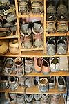 Shoes on shelves.